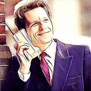 Hombre hablando con teléfono años 90