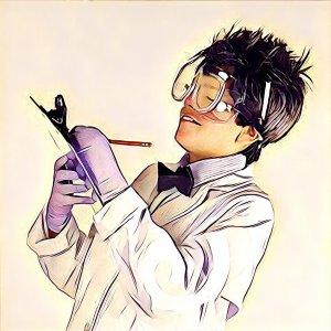 Cientifico tomando nota del experimento