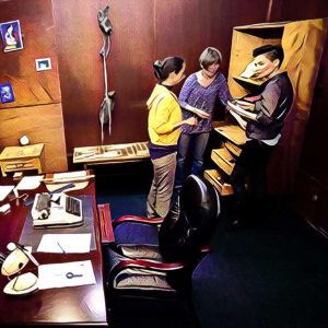 escape room participantes buscando pistas