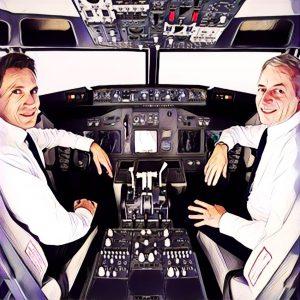 Piloto y copiloto en un avión