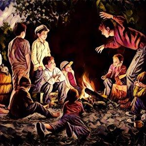 Chavales contando historias junto al fuego