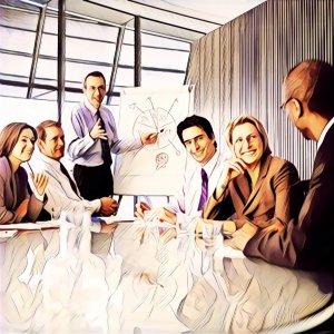 curso de formación en la oficina sonriendo