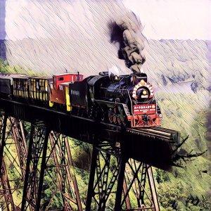 Tren sobre puente roto