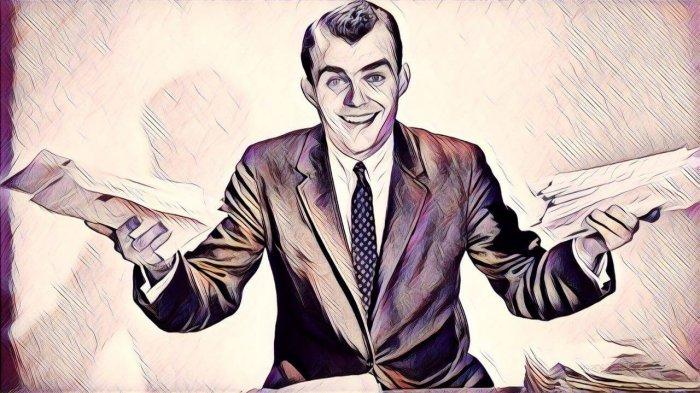 hombre de negocios vintage con encuestas de satisfacción