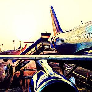 Embarcando en el avion