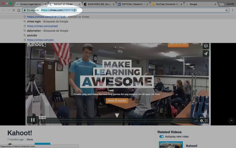 Copiando direcci贸n original (URL) del v铆deo de Vimeo