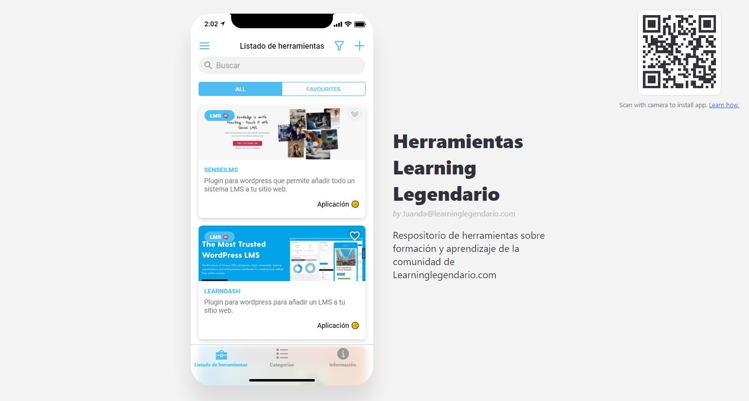 aplicación herramientas learning legendario