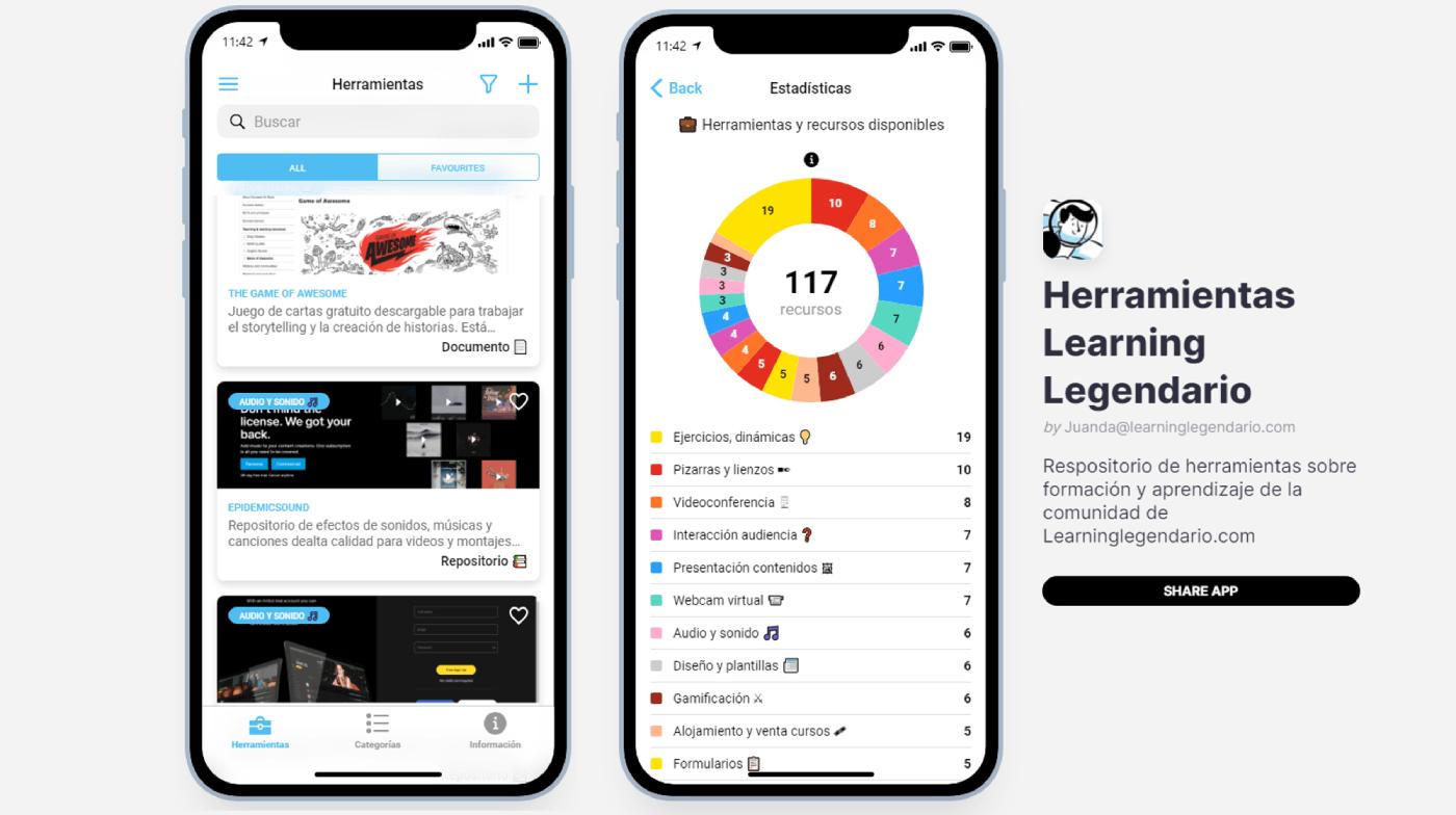 aplicacion con herramientas learning legendario